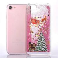 Рождественские серии Симпатичные шаблон Quicksand телефон чехол для iPhone 6 6S 7 Plus Bling Glitter Liquid Плавающие Звезды Перемещение Жесткий Защитная крышка