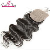 Silk Closure 100% Brazilian Human Hair Extensions Silkbase C...