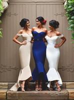 2016 Морденом Русалка платья невесты выполненное на заказ Дешевые Off плеча атласных ленточек Привет-Lo Формальные платья вечернее платье горничной честь платье