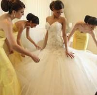 2016 Mermaid Wedding Dresses Applique Beaded Strapless Sweet...