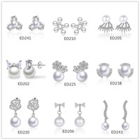 Mix style 925 sterling silver plated pearl earrings wholesal...