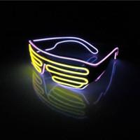 flshing led glasses Neon LED Light Up Shutter Shaped Glasses...