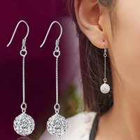 New Silver Plated Drop Earrings For Women High Quality Cryst...