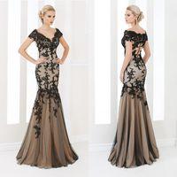 Elegant Mermaid Evening Dresses Appliqued V- Neck Short Sleev...