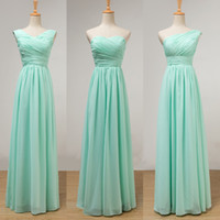 Mint Green Long Chiffon Bridesmaid Dress Lace Up 2017 Pleate...