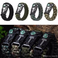 Rope Paracord Survival Bracelet Flint Compass Whistle Outdoo...