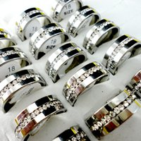 Femmes inoxydable 316L Anneaux acier Engagement anniversaire Prong Bague Réglage zircon cubique classique Femme Bijoux LR272