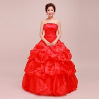 Pink Red Ivory White Ruffled Organza Ball Gown Wedding Dress...