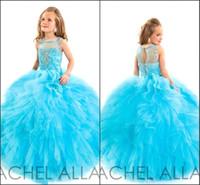 2016 Aqua Girl в Pageant платья Sheer Bateau с AB Камни оборками Тюль принцессы Детский бальное платье Кристалл Рэйчел Аллана Дети платья BA0224