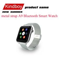 2016 a9 montre intelligente Nouveau bracelet métal A9 Bluetooth montre Smart Watch avec moniteur de fréquence cardiaque pour Android iOS Téléphone intelligent montre téléphone