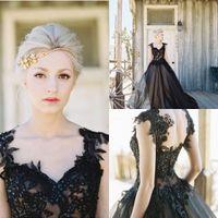Black 2016 Wedding dresses Cap Sleeve A Line Wedding Gowns L...