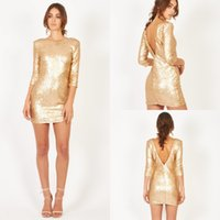 Crew Neckline 3 4 Sleeves Deep V Back Gold Sequin Dresses 20...