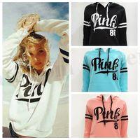 Women Pink Letter Hoodie VS Pink Pullover Tops VS Brand Shir...