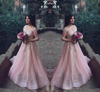 2017 Новый Саудовская арабский Off Плечи Пром платья V-образным вырезом платья Illusion Длинные рукава Розовый Vestidos De Fiesta Кружева Аппликации партии вечера