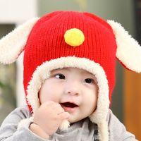 2016 Winter crochet knitted baby infant ear caps hat hats Ch...