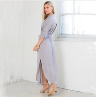 2016 Europe sexy loose V- neck long- sleeved dress 3 colors ca...