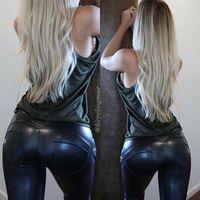 2016 Low Waist Zipper Black Leather Pants Leather Leggings P...