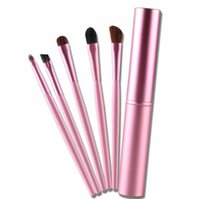 1Set 5pcs Professional Eyeshadow Brush, Black Pink Soft Pony ...