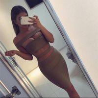 2016 women off shoulder cut out white black bandage dress se...