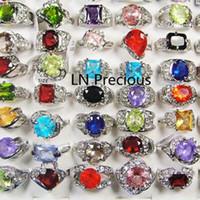 Mode Classique Argent Plaqué strass zircon anneaux pour les femmes Fashion Party Whole Bijoux en vrac Lots LR111 Livraison gratuite