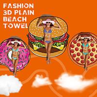 Fashion 3D Plain Hamburg Pizza Doughnuts Beach Throw Tapestr...