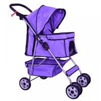 4 Wheels Pet Stroller Cat Dog Cage Stroller Travel Folding C...