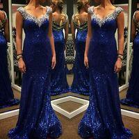 2016 Выпускные платья с рукавами Cap V шеи Sexy Русалка Crystals вечерние платья Sheer Sequined сшитое Длинные Пром платье для партии