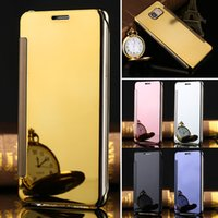 Pour Samsung galaxie S7 J5 J3 2016 A7 A5 Voir les étuis miroir Clear Window View Chromé Flip Electroplate Phone Case Cellphone Cover