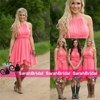 2016 Cheap Country Coral Bridesmaid Dresses Jewel Neck Chiff...