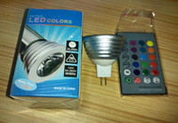 LED RGB ampoule 3W 16 couleur changeant 3W projecteurs LED RVB conduit ampoule lampe E27 GU10 E14 MR16 GU5.3 avec 24 clé de contrôle à distance DHL gratuitement
