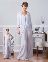 2017 Light Gray Plus Size Mother Of The Bride Groom Pant Sui...