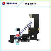 100% d'origine Dock Connector Port de charge USB pour l'iPhone 5 5G Avec prise casque Tail Plug-Flex Câble Blanc Noir Pour iPhone5