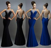 Mermaid Long Evening Dresses Sexy Sheer Back Royal Blue Blac...