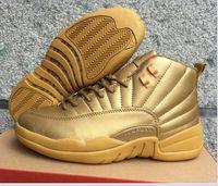 Retro 12 XII Mens Basketball Shoes JUMPMAN Gold High Top Men...