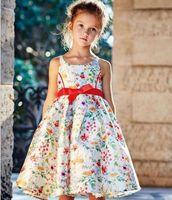 7pcs lot 2016 Big Girls Flora Printed Bowknot Dress Sleevele...