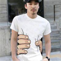 Black White colors Hot 3D big Hand Printed cotton T- SHIRT Fu...