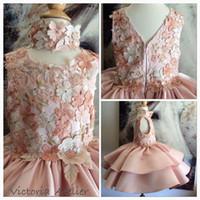 Custom Made Sweet Flower Girls Dresses For Weddings Jewel Sl...