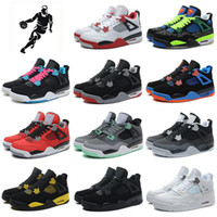 2016 Retro 4 Men Basketball Shoes White Cement bred Oreo Sne...