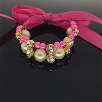 wholesale! specialized pink rhinestone necklace with ribbon ...