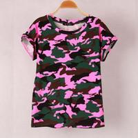 2016 colors Women Camouflage T- shirts Bat sleeve t shirts St...