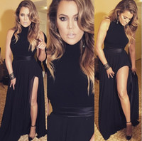 Сексуальное черное платья выпускного вечера высокого шеи шифон с орденской высокого бедренной кости Сплит Вечерние платья Длинные вечерние платья партии