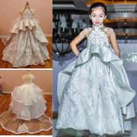 Fashion Peplum Kids Pageant Gowns Applique High Neck Wedding...