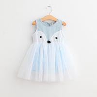 2T-7T Girls 'Cotton fox vestido de renda One Piece mangas Meninas vestidos azuis-de-rosa 2 cores 5sizes Primavera-Verão