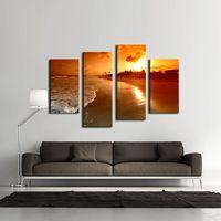 4 фото Сочетание искусства стены Море на закате Картина Картина Печать на холсте для домашнего декора украшения подарка кусок