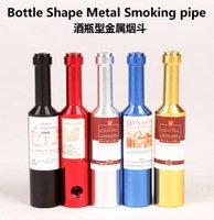 Délicat winebottle Pipes Pipes en métal en alliage d'aluminium Pipes Portable Et détachables 68mm Petite taille Pipe en verre