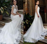 Cap Sleeve Wedding Dress Lace appliques Sweep Train Brides D...