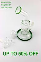 Nouveau design Jadeite Couleur Bong en verre deux petits perc tuyau d'eau 8,3 pouces deux fonctions