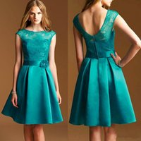 Illusion Neckline Cap Sleeve Bridesmaids Dresses A Line Shor...