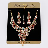 Girls Women' s Bridal Jewellery Set With Tikka Diamante ...