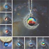 12 colors Vintage moon necklace starry Moon Outer space Univ...